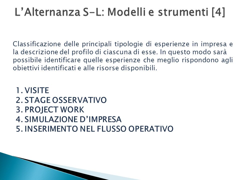 L'Alternanza S-L: Modelli e strumenti [4]
